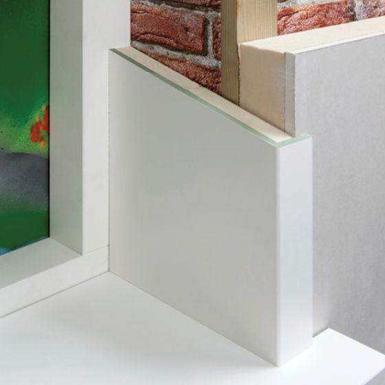 Dagkantafwerking MDF L-vormig, voorzien van witte folie (overschilderbaar)en 20mm PIR. Toe te passen bij raam- en deuropeningen.